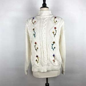 VTG Spice Of Life White Cable Knit Flower Sweater